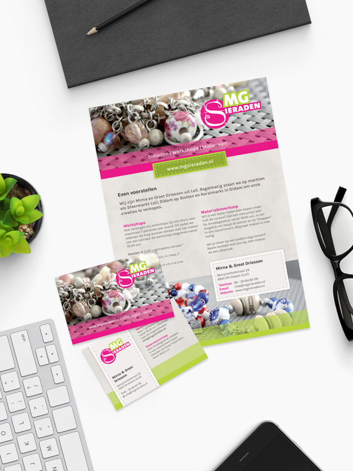 Flyer Visitekaartje MGSieraden | DesignedBy